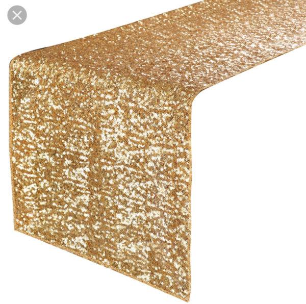 gold sequin tablerunner