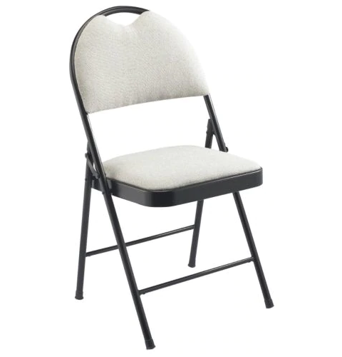 padded folding grey chair