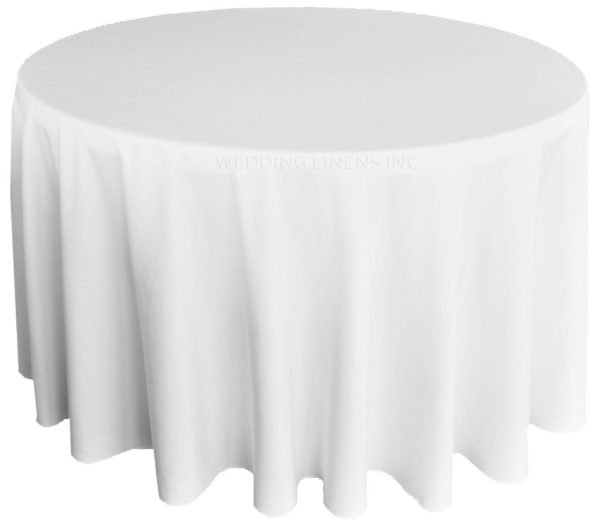 180 inches white polyester round tablecloth